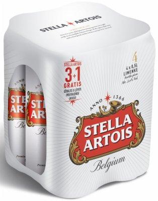 PIVO STELLA ARTOIS 0,5L  3+1GRATIS  LIME